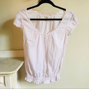 Abercrombie & Fitch Pink White Striped Peasant Top